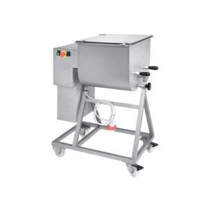 Malaxor pentru carne cu 2 palete, capacitate 25/50 Kg (min/max), constructie inox, cuva cu sistem basculare (110°) pentru o golire usoara, viteza 30rpm, lame detasabile, comutator pe capac, functie de revers, buton de urgenta, putere 1,5 kw, alimentare 220/380V, greutate 79 kg, dimensiuni 800x470x1030hmm.Made in Italy